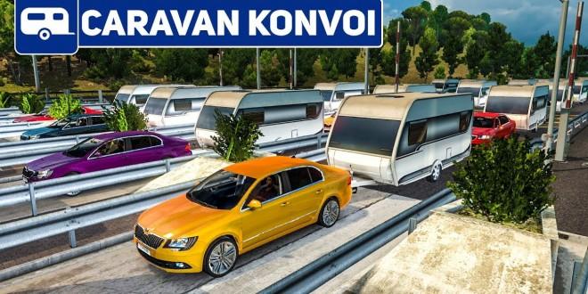ETS 2: An der MAUTSTELLE mit 200 Wohnwagen!   Caravan Konvoi #2 im Euro Truck Simulator 2 deutsch