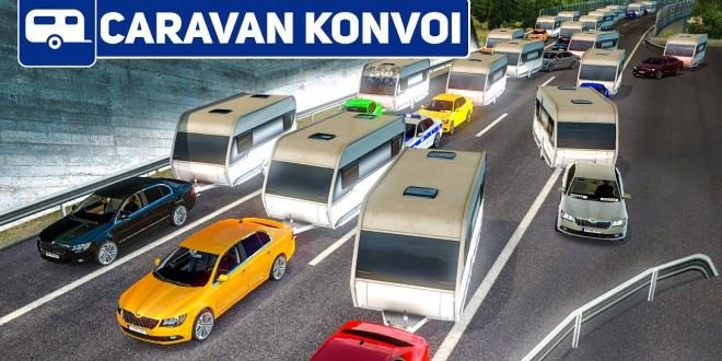 ETS 2: vorbeifahren an den 200 Wohnwagen!   Caravan Konvoi #4 im Euro Truck Simulator 2 deutsch